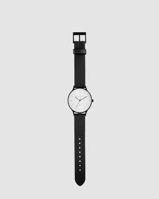 Status Anxiety Inertia - Watches (matte black / white face / black strap)