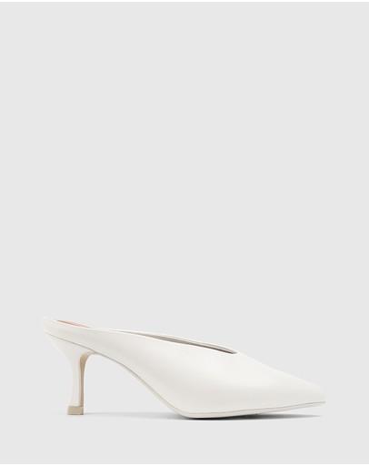 Wittner Devlin Leather Stiletto Heel Pointed Toe Mules White