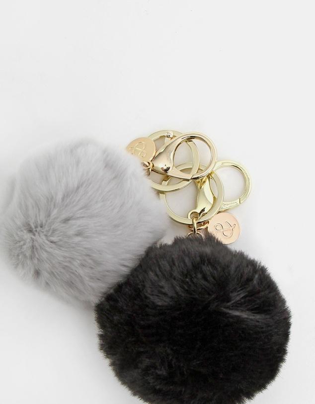 Women Faux Fur Pom Pom Key Ring 2 Pack