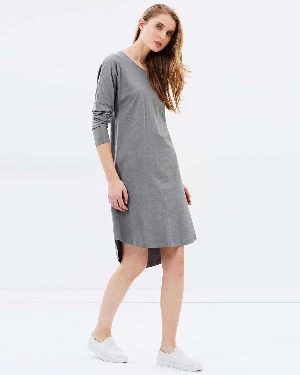 Photo of Cloth & Co. Charcoal Organic Cotton Long Sleeve Dress - buy Cloth & Co. dresses on sale online