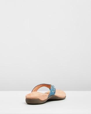 Vionic Lucia Toe Post Sandals - All thongs (Aqua Snake)