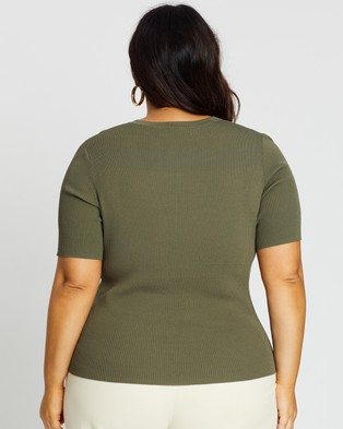 Atmos&Here Curvy Jacy Knitted Top - Tops (Khaki)