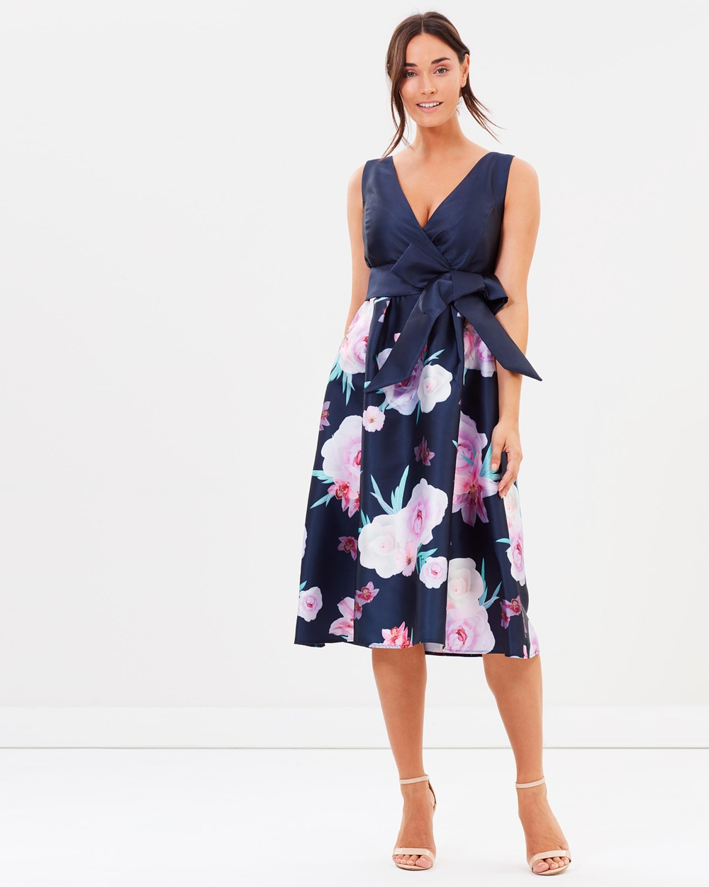 Dorothy Perkins Floral Border Bow Belt Prom Dress Printed Dresses Navy Blue Floral Border Bow Belt Prom Dress