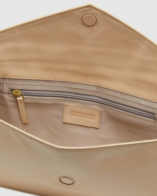 Oxford Geneva Leather Envelope Bag - Handbags (Brown)