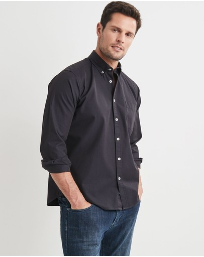Blazer Brian Long Sleeve Twill Shirt Navy