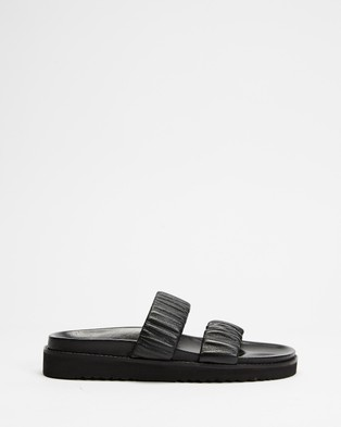 Atmos&Here Midform Leather Ruched Slides - Sandals (Black Leather)