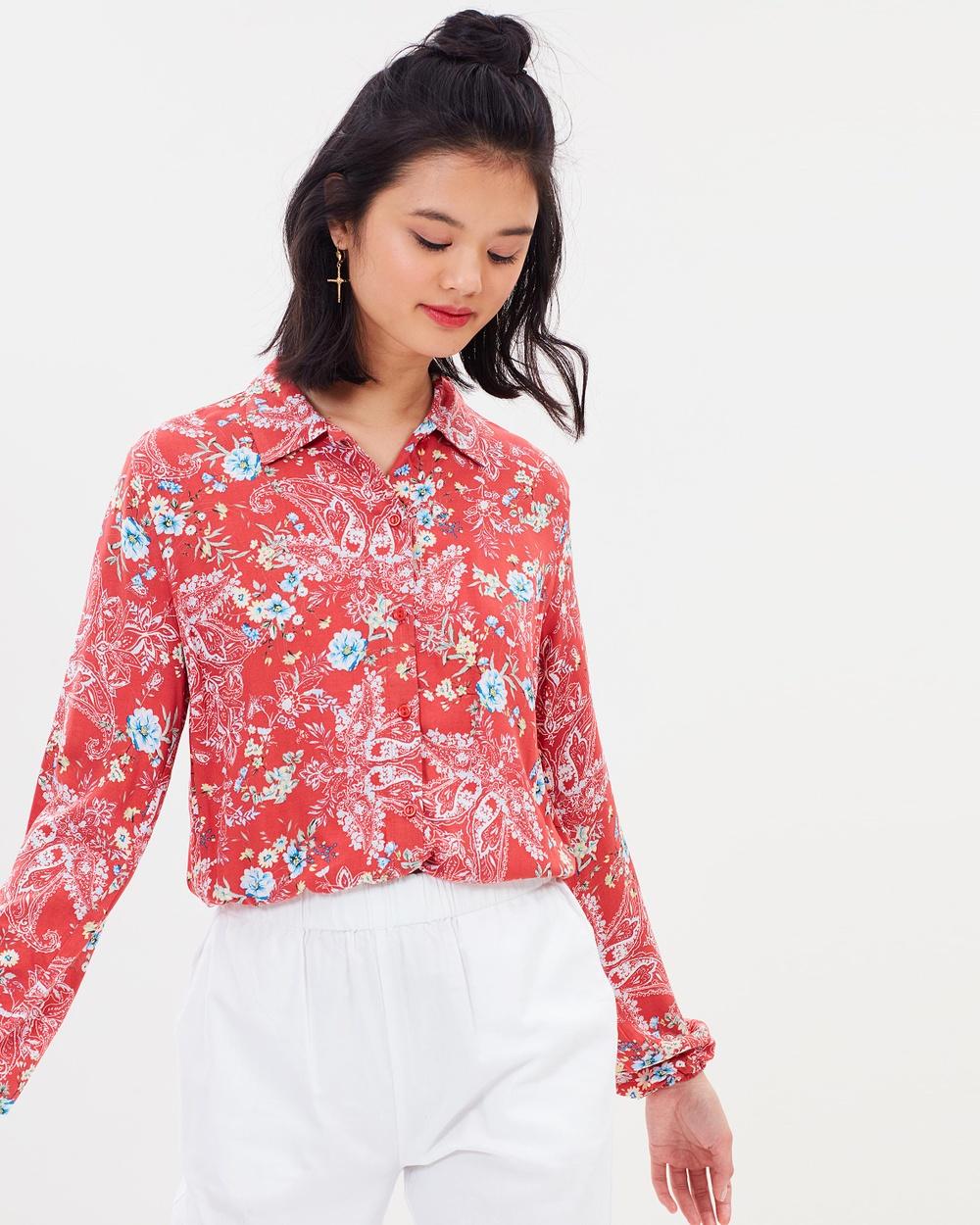 Miss Selfridge Paisley Drawstring Shirt Tops Red Paisley Drawstring Shirt