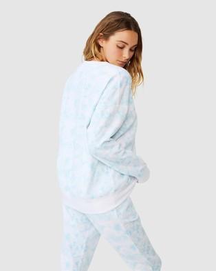 Cotton On Body Active Long Sleeve Fleece Crew Top - Sweats (Baby Blue Tie Dye)