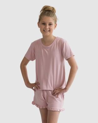 Love Haidee Sleep Shorts & Short Sleeve Sleep Tee Set - Two-piece sets (Pink)
