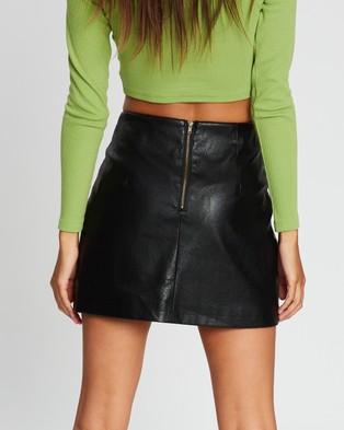 Dazie Split Front PU Skirt - Leather skirts (Black)