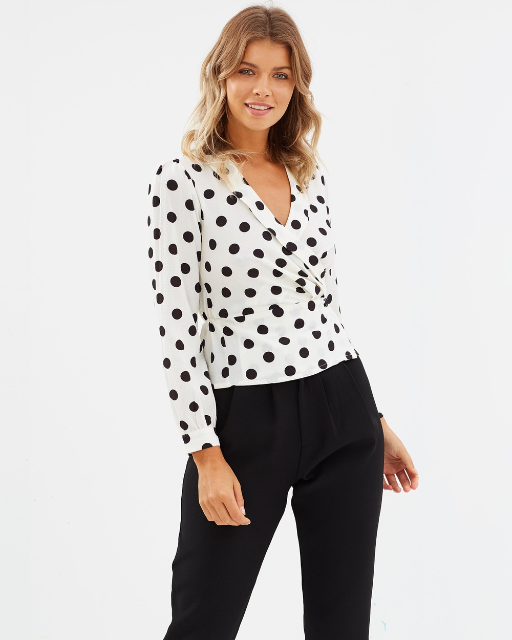 Atmos & Here ICONIC EXCLUSIVE Lauren Button Wrap Top Tops Polkadot ICONIC EXCLUSIVE Lauren Button Wrap Top
