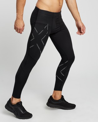 2XU Wind Defence Compression Tights   Running - Full Tights (Black & Striped Silver Reflective)