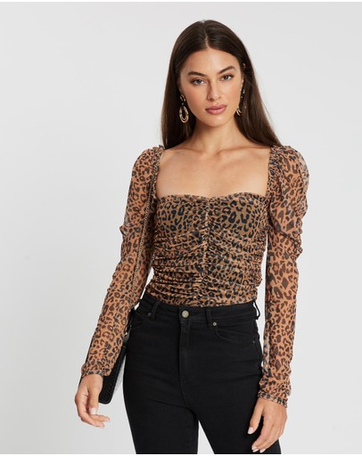 Missguided Mesh Ruched Corset Puff Top Multi