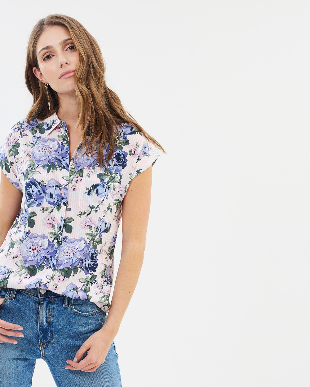 Oasis Provence Floral Stripe Shirt Tops Multi Provence Floral Stripe Shirt