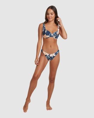 Roxy Womens Bu Lilies Surf D Cup Separate Bikini Top - Bikini Tops (MOOD INDIGO HAPPY DA)