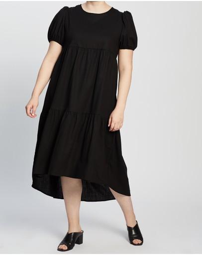 Atmos&here Curvy Jada Linen Blend Midi Dress Black