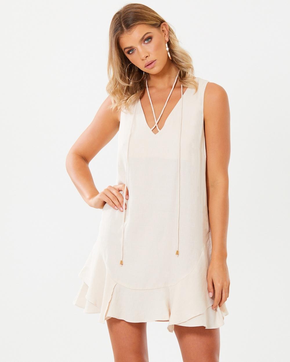 Buy Tussah Sand Carina Tie-Neck Dress -  shop Tussah dresses online