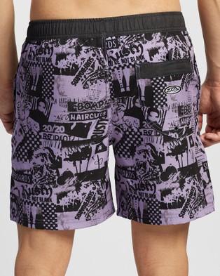 Rusty Jackknife Elastic Boardshorts - Swimwear (Powder Purple)
