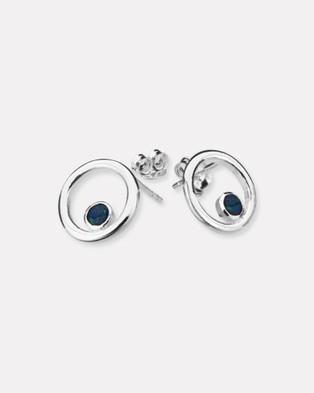 Ichu Open Circle Opal Earrings - Jewellery (925 Sterling Silver)