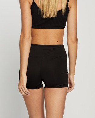 Factorie Cheeky Elevated High Waisted Bike Shorts - High-Waisted (Black)