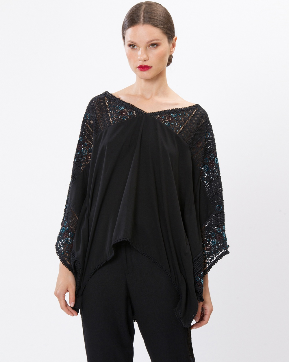 SIYONA Aliya Lace Embroidered Top Tops Black Aliya Lace Embroidered Top