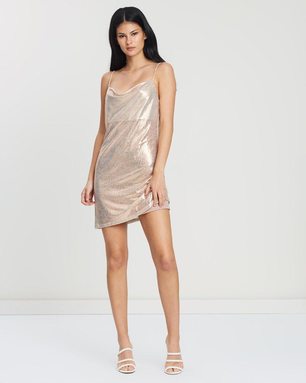 64fe774620b61 Metallic Cowl Neck Body-Con Dress by Miss Selfridge Online | THE ICONIC |  Australia