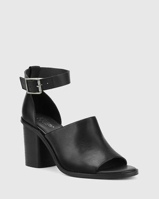 Wittner Fig Leather Block Heel Sandals Black