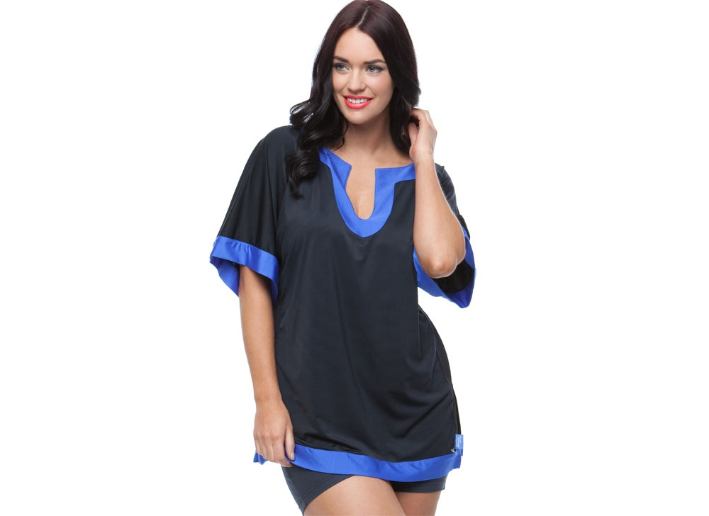 Curvy Chic Sports Active Kaftan Tops Black & Blue Active Kaftan