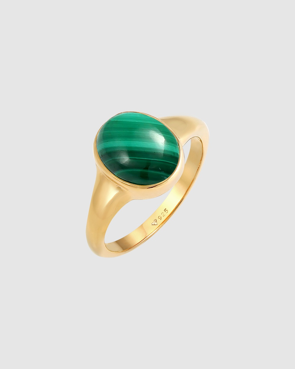 Elli Jewelry Ring Signet Malachite Green in 925 Sterling Silver Gold Plated Jewellery Gold