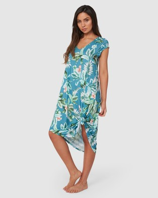 Monte and Lou Jersey Cap Sleeve Dress - Dresses (Green)