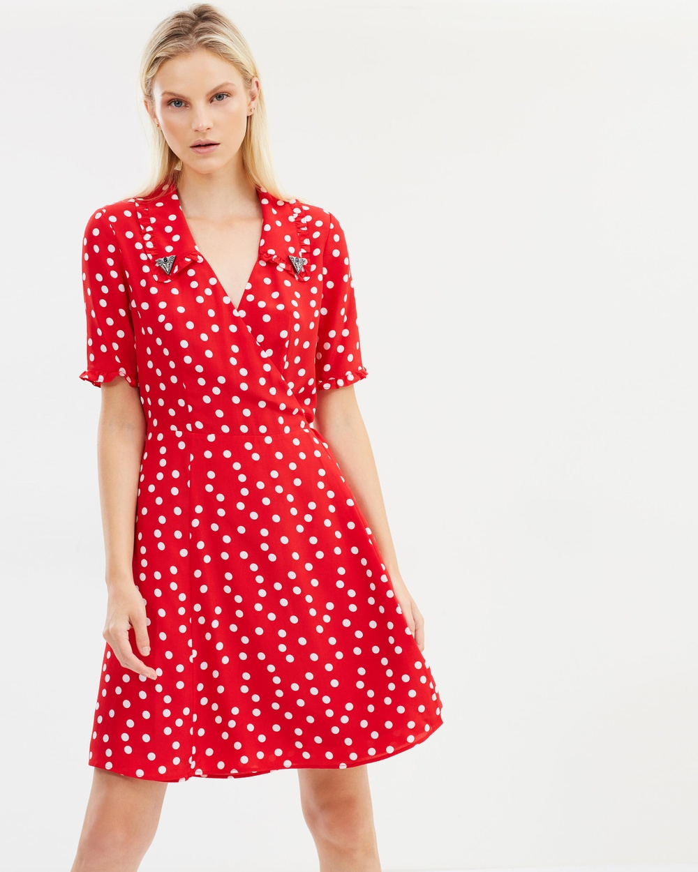 The Kooples Magic Mushroom Crepe Silk Dress Printed Dresses Red Magic Mushroom Crepe Silk Dress