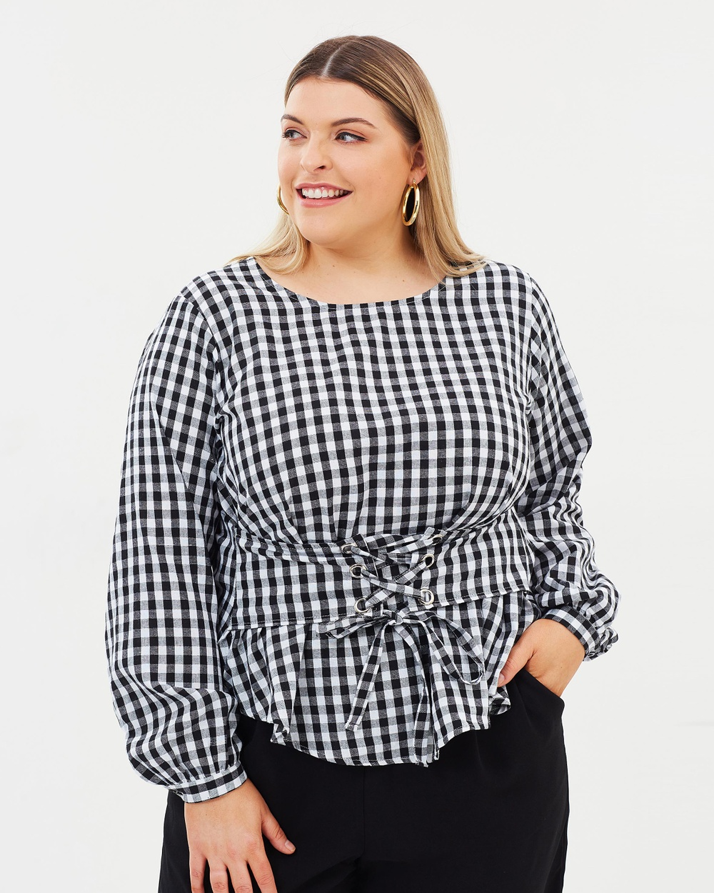 Atmos & Here Curvy ICONIC EXCLUSIVE Emma Corset Top Tops Gingham ICONIC EXCLUSIVE Emma Corset Top