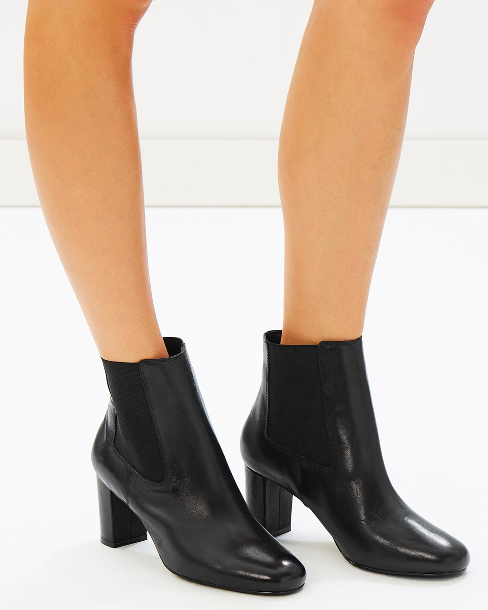 Atmos & Here ICONIC EXCLUSIVE Pamela Leather Ankle Boots All Pumps Black Leather ICONIC EXCLUSIVE Pamela Leather Ankle Boots