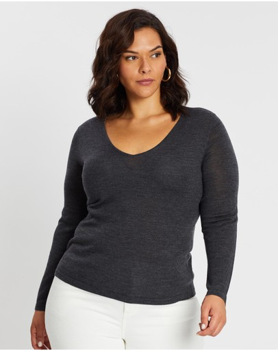Atmos&here Curvy Lisa V-neck Merino Knit Grey