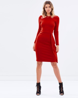 Atmos & Here – Hillary Ponte Ruffle Dress – Bodycon Dresses Red