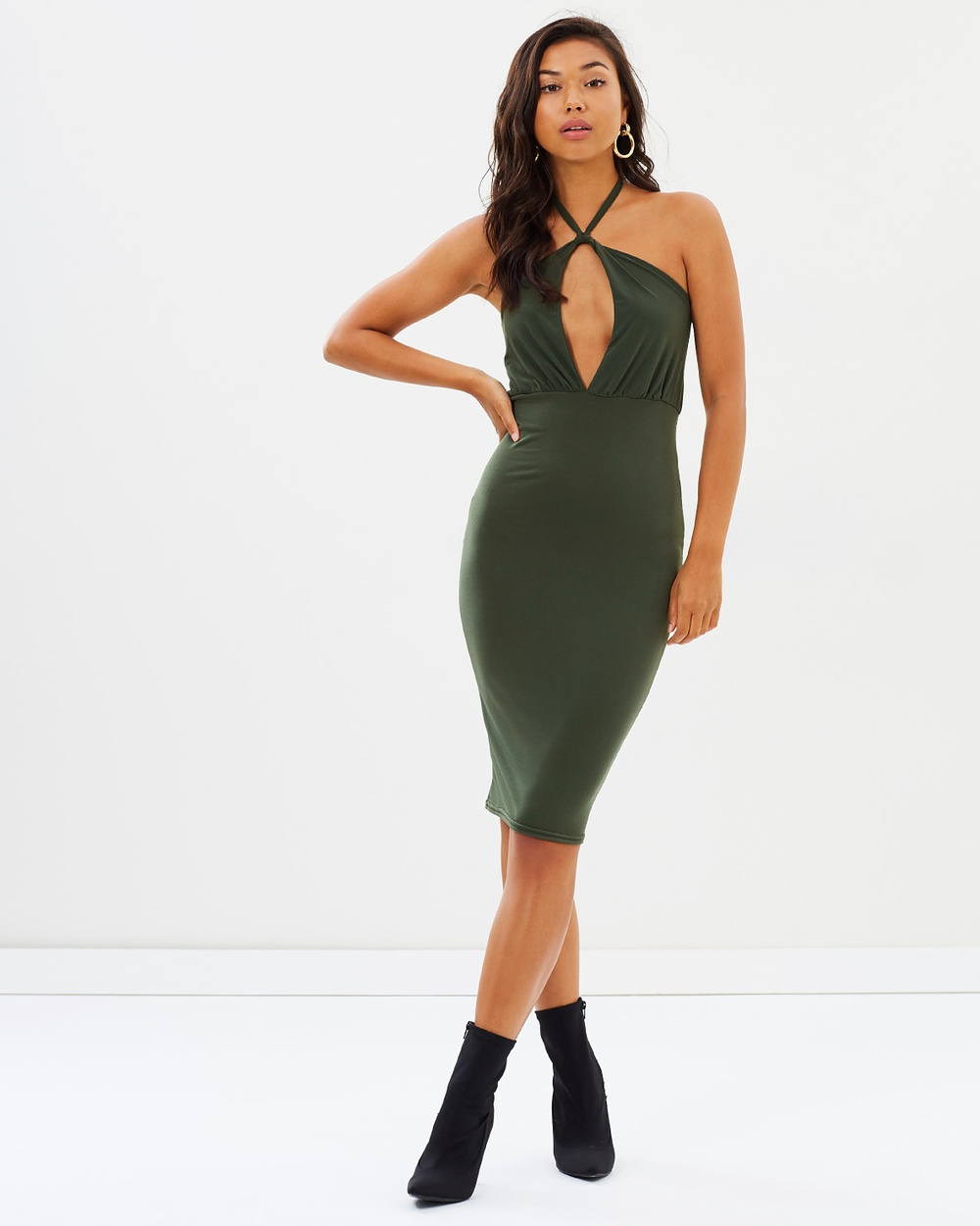 Missguided Slinky Tie Neck Twist Keyhole Midi Dress Bodycon Dresses Khaki Slinky Tie-Neck Twist Keyhole Midi Dress