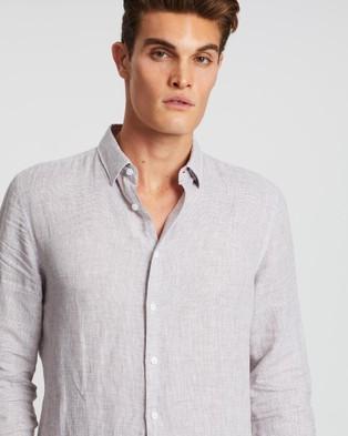 SABA Anderson Long Sleeve Classic Yarn Dyed Linen Shirt - Casual shirts (neutrals)