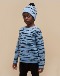 Huxbaby - Denim Wildcat Knit Beanie - Babies-Kids