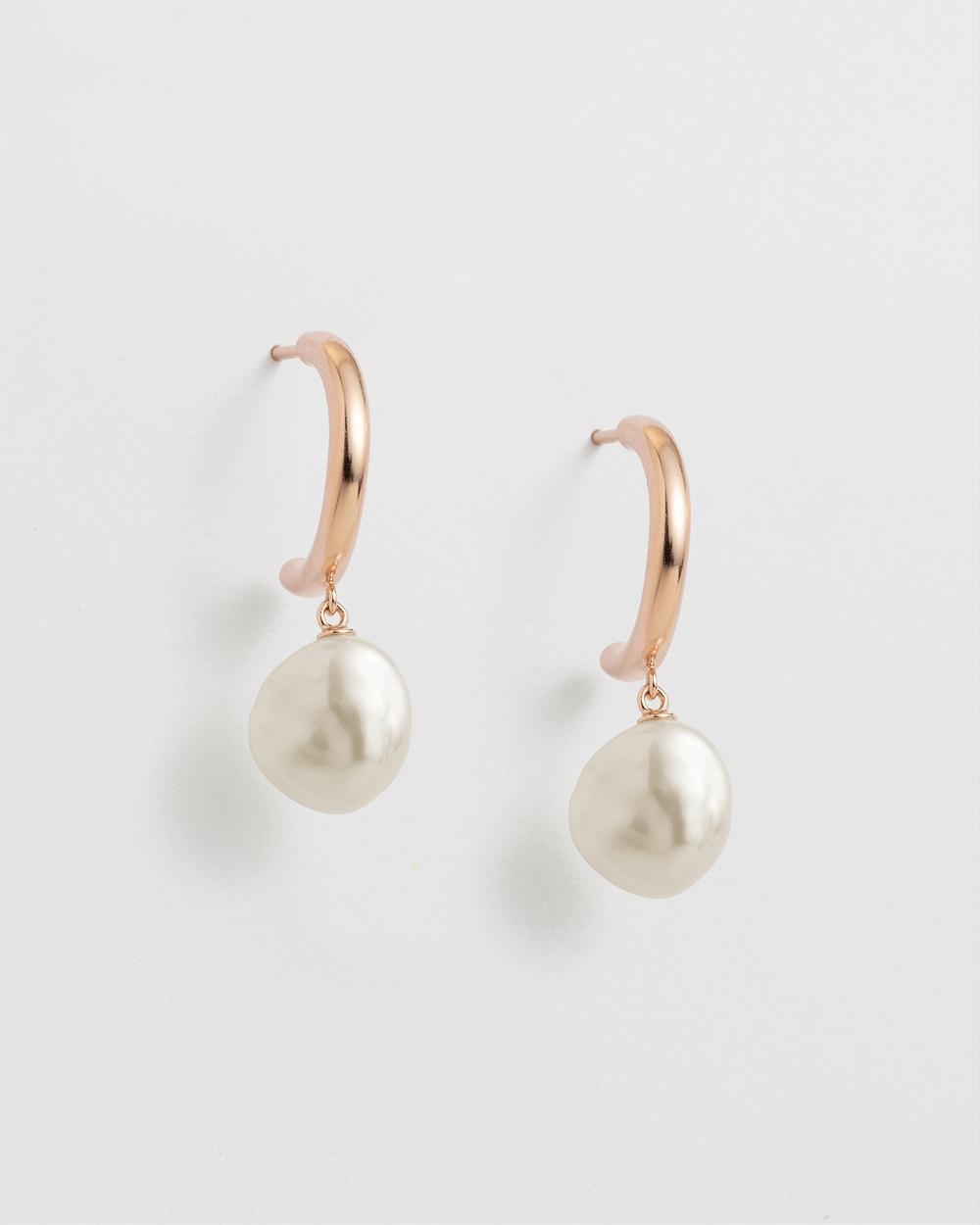 Kirstin Ash Pearl Drop Hoops Jewellery Rose Gold