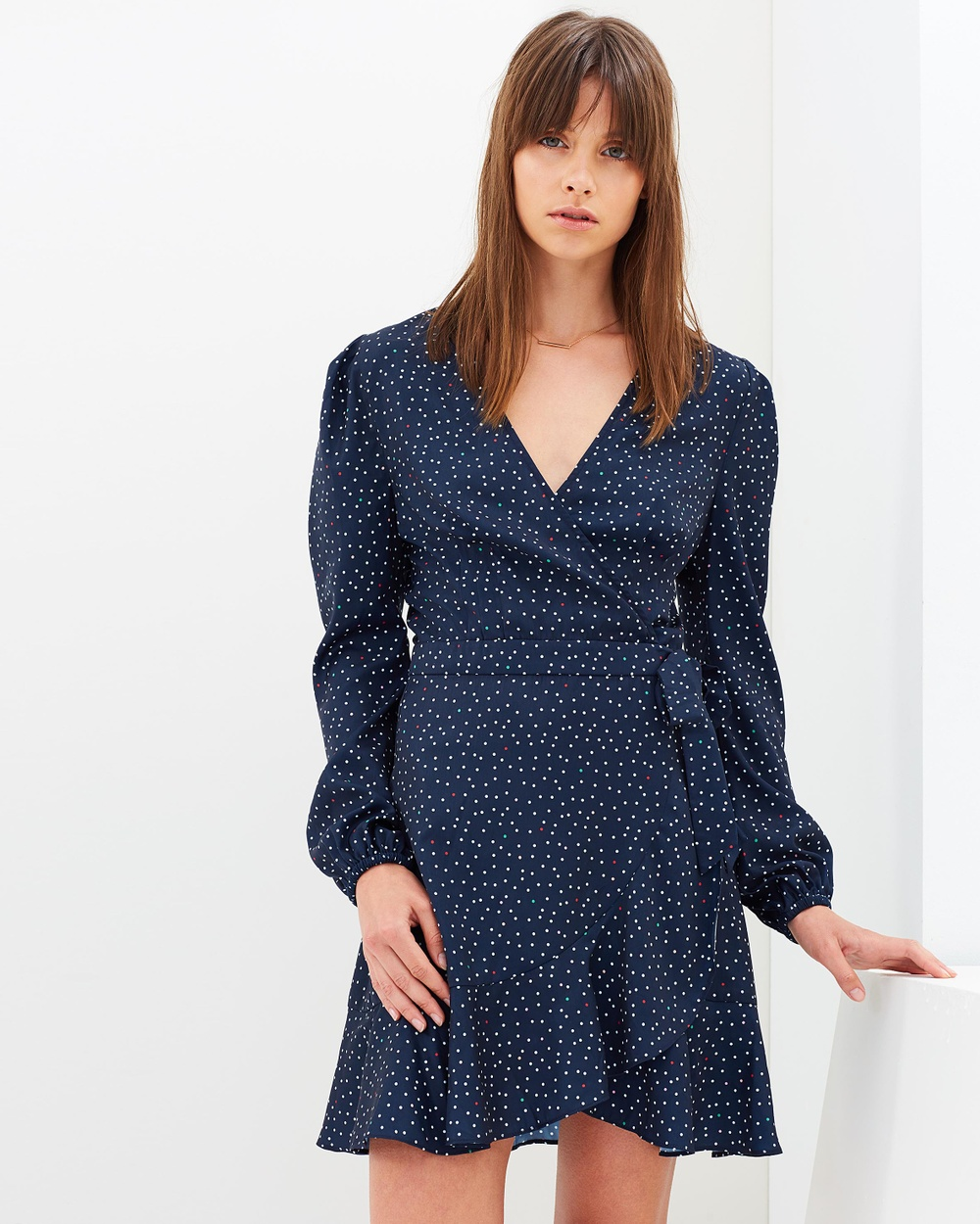 The Fifth Label Rooftop Polka Dot Long Sleeve Dress Printed Dresses Navy & White Rooftop Polka Dot Long Sleeve Dress