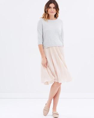 MAX & Co. – Cono Double Layer Dress – Dresses (Grey Melange)
