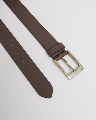 Double Oak Mills Smooth Leather 35mm Belt - Belts (Brown & Gold)