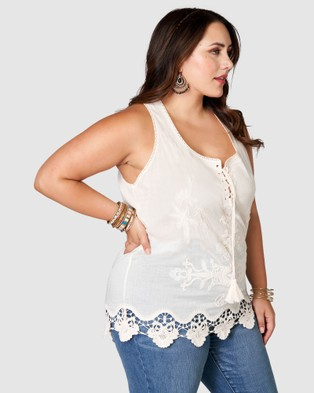 The Poetic Gypsy Nowhere Else Embroidered Cami - Tops (Natural)