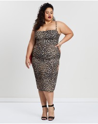 Missguided Curve - Leopard Print Split Midi Dress