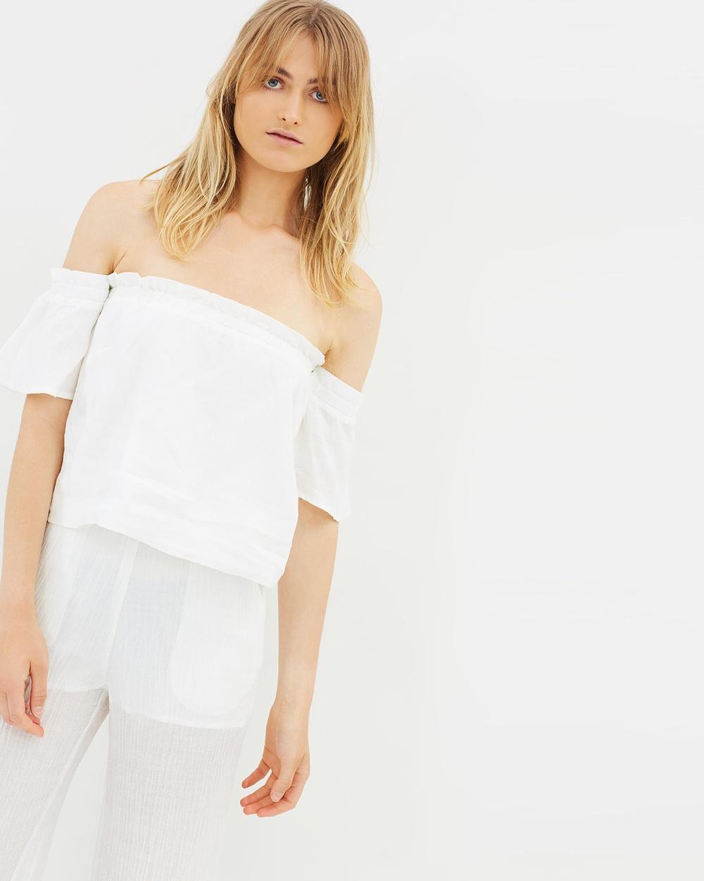 Hansen & Gretel Paris Linen Top Tops White Paris Linen Top