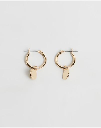 Orelia London Chunky Mini Coin & Hoop Earrings Pale Gold