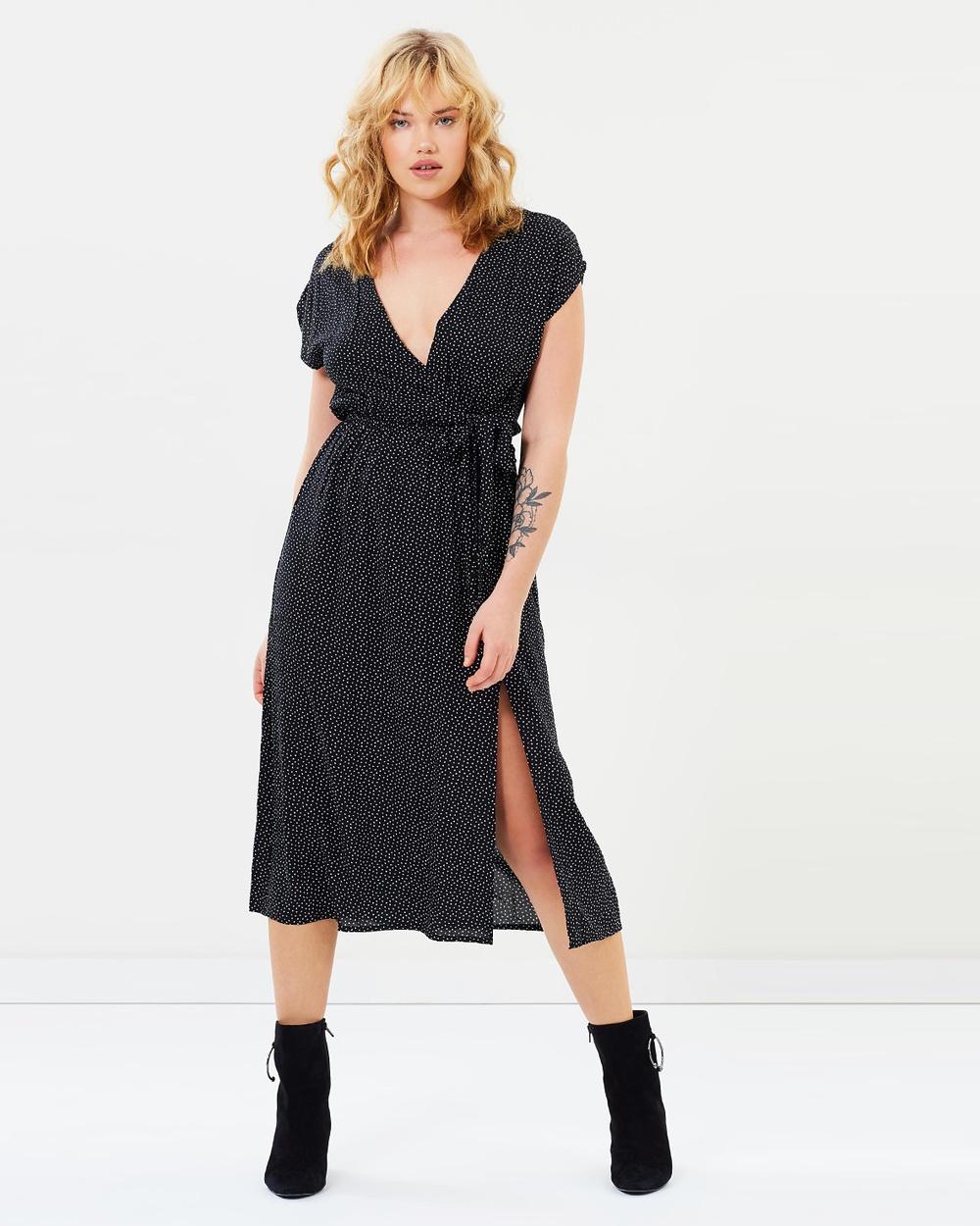MINKPINK Jemima Wrap Dress Printed Dresses Black & White Jemima Wrap Dress
