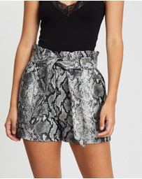 Miss Selfridge - Snake Print Faux Leather Paperbag Shorts