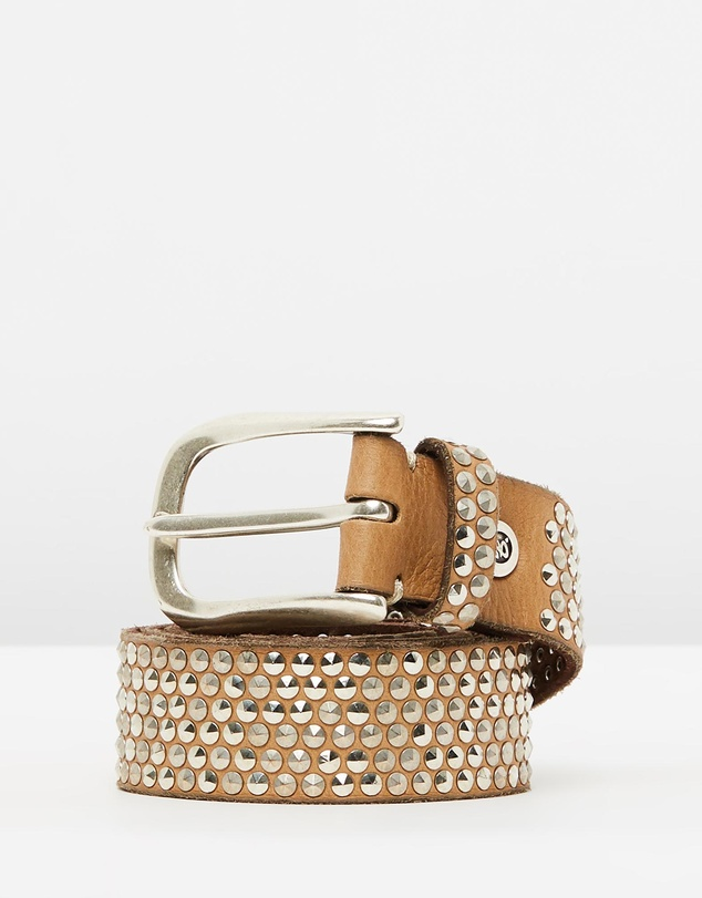 B.Belts - Studded Leather Belt
