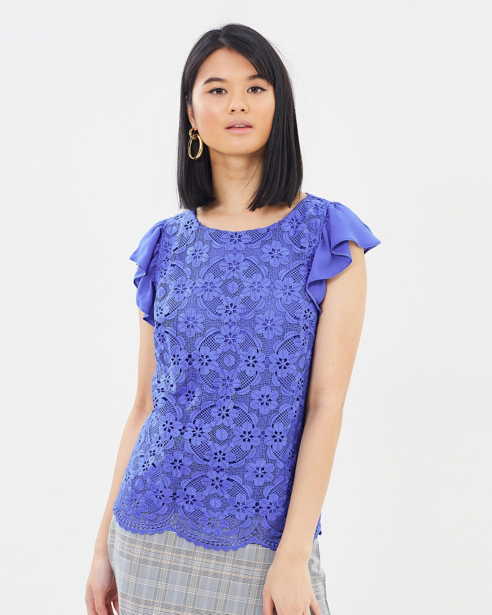 Oasis Deco Lace Shell Top Tops Mid Blue Deco Lace Shell Top